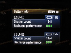Canon 5D MarkII Batteries levels
