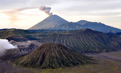Mount Semeru smoking (Victor SCY) Tags: mountain mountains sunrise indonesia temple volcano java nationalpark crater ash volcanic soe eruption bromo semeru tengger batok sulfuric