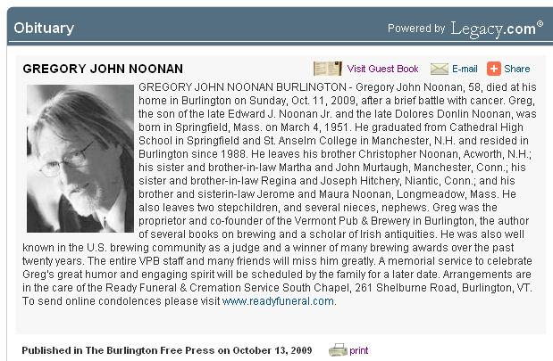 Greg Noonan: 1951-2009