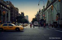 Manhattanhenge 2011 (Rafakoy) Tags: street city nyc sunset summer people urban sun ny newyork film analog 35mm nikon chelsea manhattan cab taxi solstice epson meatpackingdistrict avenue manhattanhenge n55 2011 f55 fujisuperiareala100 afnikkor35mmf2d epsonv600 epsonperfectionv600