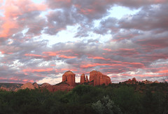 Cathedral Rock and The Whole Darn Sky (sedonakin) Tags: pink sunset arizona sunlight southwest nature clouds canon landscape desert hiking horizon sedona fuschia vista redrocks cathedralrock pinkclouds oakcreekcanyon hotpink arizonalandscape southwesternlandscape julielake