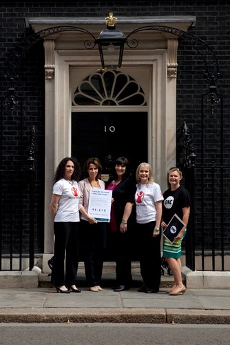 Handing over the petition in Downing Street