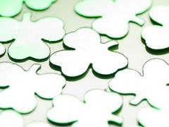 Shamrock Confetti (jciv) Tags: desktop wallpaper irish macro green foil confetti clover shamrocks stpatricks shamrock stpatricksday raynox 430ex twtmeblogged file:name=img7595