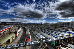 waiting for passengers (Toni_V) Tags: sky clouds train switzerland europe zurich sbb 2008 hdr d300 sigma1020mm photomatix hardau 5exp toniv toniv 16032008 inlineskatingtour reflectyourworld