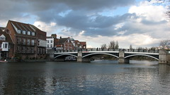 Windsor Bridge over Thames river and Eton riverside
