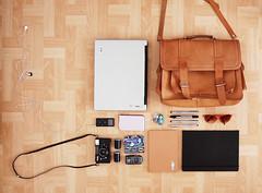 Working girl (Susanna Maria Erkheikki) Tags: camera film sunglasses 35mm bag notebook laptop sketchbook purse pens inmybag