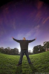Under the Milky Way Tonight (neilcreek) Tags: trees sky selfportrait green grass night clouds pose stars purple neil astro fisheye backlit reach curve embrace astrophoto longesposure anawesomeshot