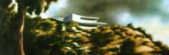 The Course of Empire (bondolou) Tags: california street trees houses light sunset sky urban usa dog mountains green art home nature water rock architecture modern night clouds sunrise buildings painting landscape fire la losangeles blurry moody afternoon shadows fuzzy contemporary smoke fineart suburbia meadow surreal stormy hills sidewalk palmtrees pools oil suburbs dreamlike neighborhoods lawns realism midcentury