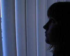 1.365 (Krystal Michelle Photo) Tags: blue eye window girl face silhouette blinds