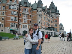 Posing by the Chateau Frontenac