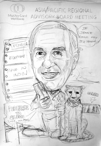 Caricature of Heuer Mastercard pencil sketch 3