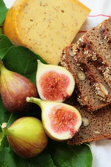 figs (C.Mariani) Tags: summer brown green nature dutch fruit cheese bread rustic nuts july tasty seeds textures honey meal grains organic sliced cumin leafs figs mycreation