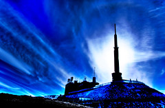 Puy Dome Mast In Blue (Digit@l Exposure) Tags: sky sunlight mountain fog clouds volcano mast sillhouette