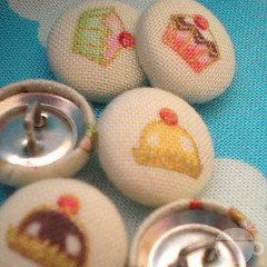Fabric Covered Buttons - Cakes