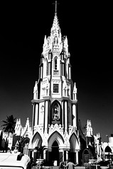 Our Lady of Good Health ((nz)dave) Tags: bw india building tower church architecture contrast blackwhite nikon arch cross gothic bangalore steeple 1755mmf28g strong nikkor karnataka d300 stmarysbasilica bengaluru ourladyofgoodhealth nikoncapturenx arogyamathe