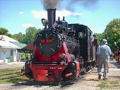 Meter guage 0-8-0 steam locomotive from East Germany prepares for departure. The Hesston steam Museum. Hesston Indiana USA. July 2007.