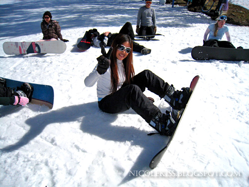 me chilling out with snowboard on snow
