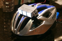 Homemade head lamp in low mode (webcompanion) Tags: bike night diy helmet led mtb headlight cree q5
