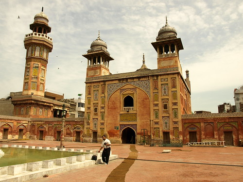 The Wazir Khan Mosque in Lahore, Pakistan, is famous for its extensive faience tile work.