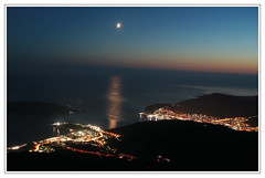 silvermoon over budva (wunderskatz) Tags: sea sky moon night silver landscape lights view shot gora adriatic montenegro budva crnagora crna wunderskatz