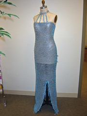 Pull Tab Gown ~ by Elizabeth Start (Urban Woodswalker) Tags: blue chicago fashion metal illinois aluminum colorful different recycled mixedmedia unique oneofakind ooak environmental surfacedesign textile ribbon wearableart gown eveninggown impressive geekery tabs repurposed pulltabs ecoart ingenious workofart upcycled poptabs trashion swancc solidwastemanagementofnortherncookcounty