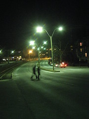 Street (historygradguy (jobhunting)) Tags: street light people blur boston night walking ma person candid massachusetts newengland lamps roads mass commave commonwealthavenue