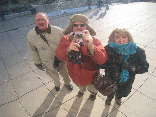 Dan Perry and folks Freezing in front of the Bean, Chicago