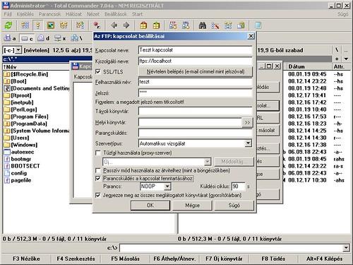 Total Commander: Új FTP kapcsolat létrehozása