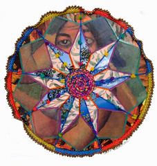 Maggie May (Peggy Dembicer) Tags: original art geometric collage circle paper creativity design diy beads artwork pattern artistic recycled handmade assemblage mixedmedia unique creative vinyl craft mandala surfacedesign nostalgia textile handcrafted create fiberart fiber beading concentric doityourself embellish craftsmanship beadwork textileart studioart beadart dembicer connecticutartist peggycorallo