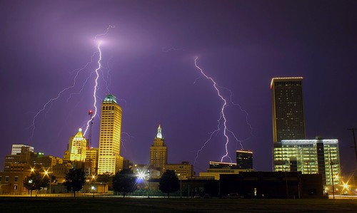 Tulsa Skyline w/Lightning