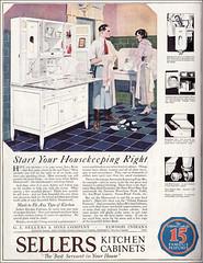 1921 Sellers Kitchen Cabinets - Ooops! (American Vintage Home) Tags: 1920s art illustration vintage magazine 1921 ladieshomejournal