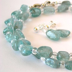 Apatite in a necklace with rock crystal quartz