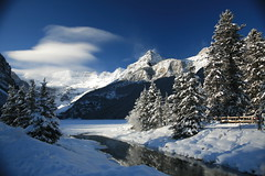The Mountain Exhaled (laszlo-photo) Tags: blue winter sky white mountain snow canada weather landscape day victoria glacier louise pines 5d lakelouise banffnationalpark victoriaglacier naturesfinest canoneos5d theunforgettablepictures