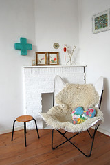 butterfly chair (ATLITW) Tags: white vintage cross pillow textile magnolia hart butterflychair eclectic homedecor sheepskin