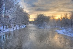 Morning at Pineville Bridge (Matt Champlin) Tags: life winter mist snow cold river landscape flow fishing snowy country flyfishing salmonriver hdr steelhead brrr pulaski pineville altmar 10degrees steelies mywinners aplusphoto