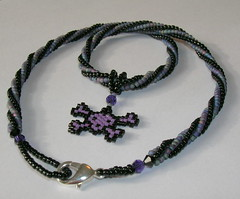 Purple Skull Spiral Choker (fivefootfury) Tags: black skull punk purple goth skullandcrossbones beadweaving purpleandblack spiralstitchbeadwork