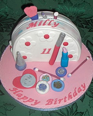 Make-up Bag Birthday Cake (abbietabbie) Tags: cake mirror brush birthdaycake mascara lipstick eyeshadow cottonbuds nailvarnish blusher makeupbag blueribbonwinner platinumphoto
