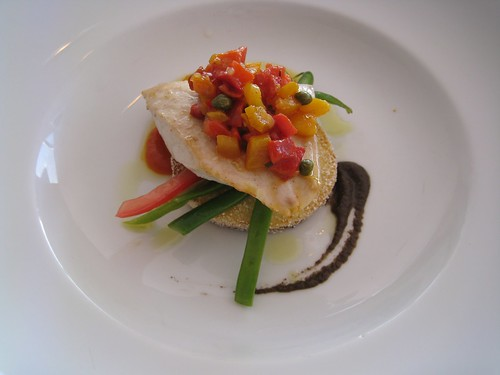 Kingfish fanciness at The Summit restaurant, Sydney
