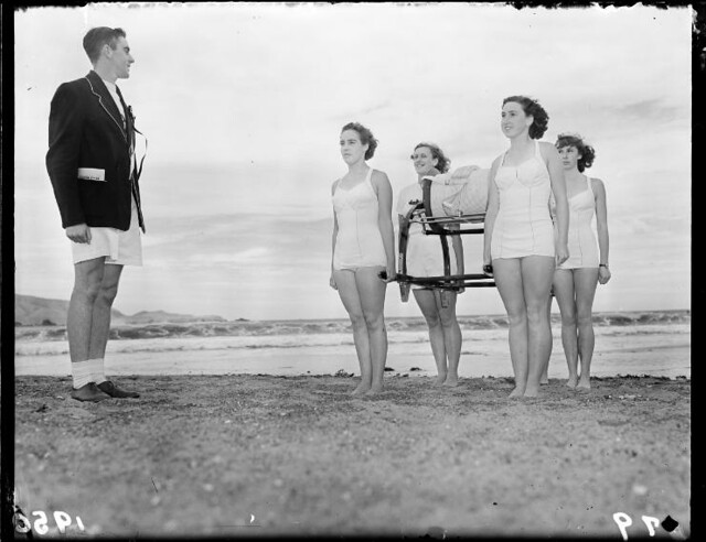Dominion life-saving championships, Lyall Bay, Wellington. 1950