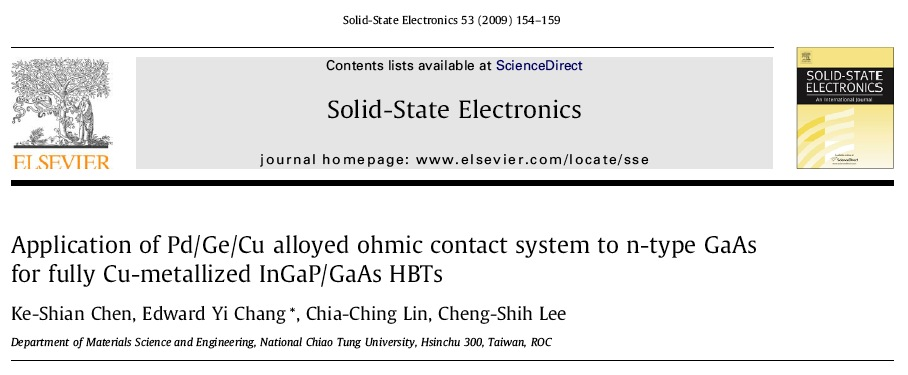 [ Solid-State Electronics] Application of Pd Ge Cu Alloyed Ohmic Contact System to N-type GaAs for Fully Cu-Metallized InGaP GaAs HBTs.jpg