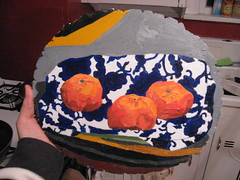 3 (ohyeth2008) Tags: stilllife painting oranges tulsa clementines oilpainting phases blueorange coolfabricpatterns lookatemlines