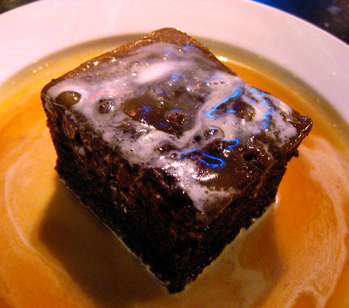For dessert, Sticky toffee pudding. Not as heavy as Id have thought it to be, the warmed spiced cake laced with lovely date taste.