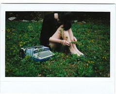 (mary_robinson) Tags: flowers film girl typewriter yellow hide instax