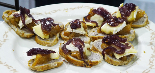 Goat Cheese & Carmelized Onion Crostini from The Farm.