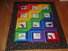 completed rainbow log cabin quilt top