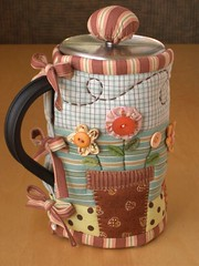 GARDEN French Press Cozy (PatchworkPottery) Tags: flowers ikea coffee butterfly garden cozy tea handmade buttons frenchpress quilted patchwork press applique kaffe bodum