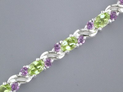 8.00 cts Oval Peridot Round Amethyst Bracelet Sterling Silver