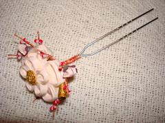 Pink ume kanzashi (cl932872) Tags: japan shopping japanese kyoto dragonfly tag tortoiseshell kimono obi ume fleamarket hairstick plumblossom komon zori obijime zouri kanzashi obiage