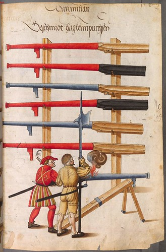 Landsknechts and series of large hand-held cannons