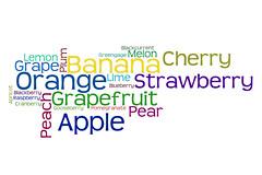 Word Cloud: Fruit (Leo Reynolds) Tags: 0sec hpexif webthing wordle xratio32x xleol30x